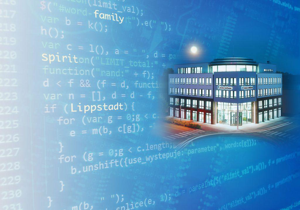 Ferber-Software Gebäude blaues Motiv